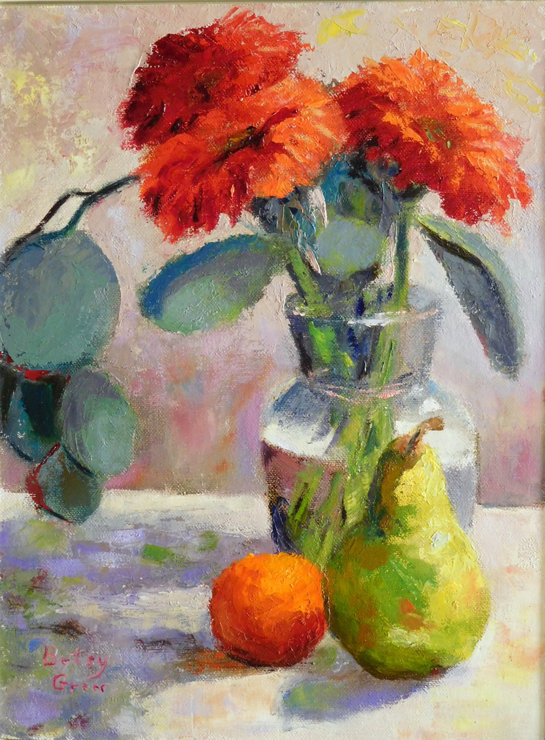 Gerber Daisies and Pear - Betsy Greer