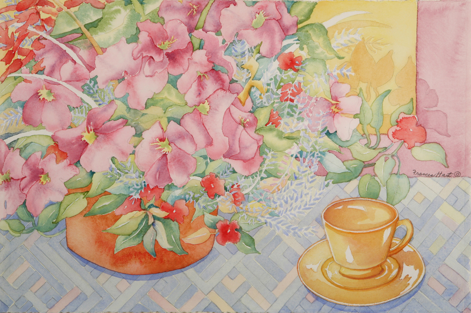 Petunias and Yellow Cup - Frances Hart