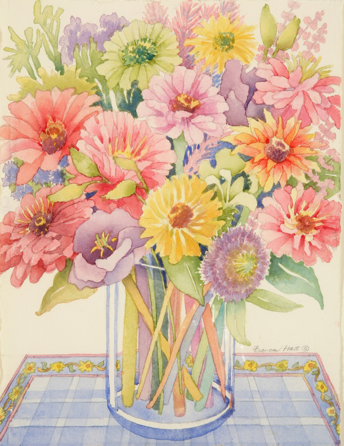 Pink and Yellow Zinnias - Frances Hart