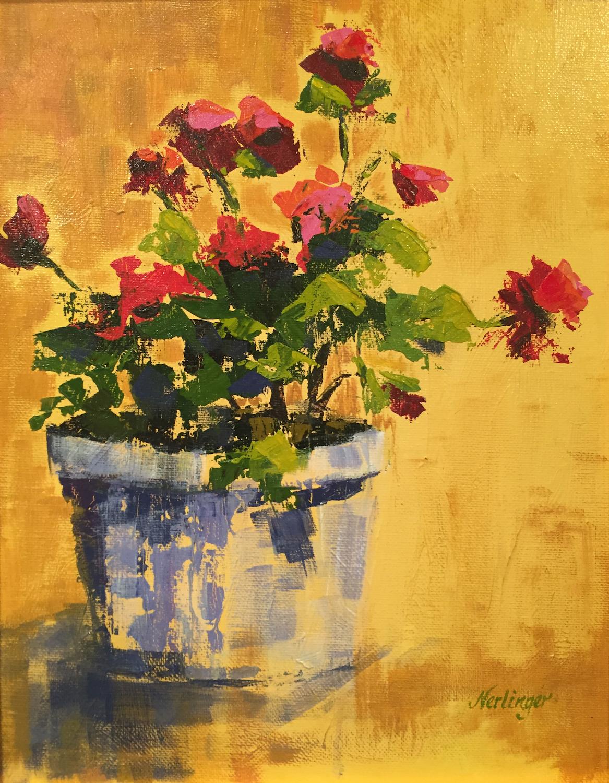 Geranium on Gold - Joyce Nerlinger